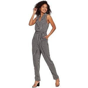 Who What Wear Striped Sleeveless Jumpsuit Monochrome Black & White